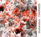 watercolor flowers seamless... | Shutterstock . vector #734090020