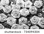black and white satin roses... | Shutterstock . vector #734094304