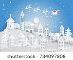 paper art style  winter holiday ... | Shutterstock .eps vector #734097808