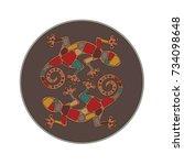 double lizard round... | Shutterstock .eps vector #734098648