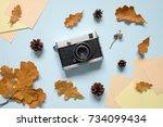autumn composition. retro...   Shutterstock . vector #734099434