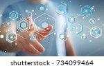businessman on blurred... | Shutterstock . vector #734099464