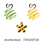 bee icon logo | Shutterstock .eps vector #734103718