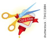 scissors and glue. cut and glue ... | Shutterstock .eps vector #734111884