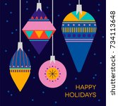 stylish happy holidays greeting ... | Shutterstock .eps vector #734113648