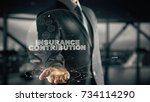 Small photo of Insurance Contribution with hologram businessman concept