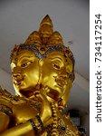 Small photo of Hindu god Brahma gold statue in Thailand,Sing Buri Province, Thailand