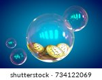 bitcoins in a soap bubble on... | Shutterstock . vector #734122069
