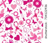 seamless pattern of breast... | Shutterstock .eps vector #734122936
