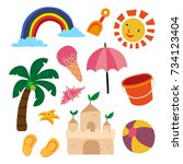 beach object collection | Shutterstock .eps vector #734123404