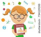 elementary school student girl...   Shutterstock .eps vector #734129200