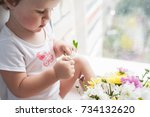 the baby sits near the window... | Shutterstock . vector #734132620