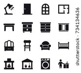 16 vector icon set   table lamp ... | Shutterstock .eps vector #734134636