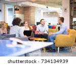 group of a young business... | Shutterstock . vector #734134939