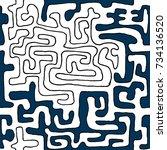 crazy cartoon pattern. seamless ... | Shutterstock .eps vector #734136520