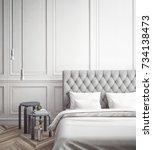 interior of white and gray cozy ...   Shutterstock . vector #734138473