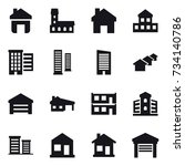 16 vector icon set   home ... | Shutterstock .eps vector #734140786