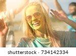 portrait of a beautiful blonde...   Shutterstock . vector #734142334