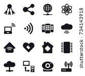 16 vector icon set   share ... | Shutterstock .eps vector #734143918