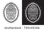 set of floral silhouettes | Shutterstock .eps vector #734145106