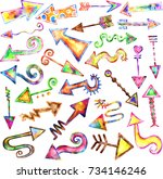 hand drawn doodle arrows with... | Shutterstock . vector #734146246
