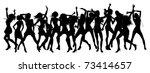 Silhouettes of sexy beautiful women dancing - stock vector