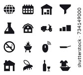 16 vector icon set   globe ... | Shutterstock .eps vector #734149000