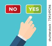 hand pointing at yes instead of ... | Shutterstock .eps vector #734149246