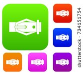 leather belt set icon color in... | Shutterstock .eps vector #734151754