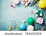 funny birthday party background.... | Shutterstock . vector #734152354