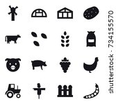 16 vector icon set   windmill ... | Shutterstock .eps vector #734155570