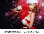 portrait of beautiful sexy girl ...   Shutterstock . vector #734158768