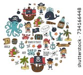 seamless pattern pirate party... | Shutterstock . vector #734166448