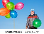 little boy with air marbles on... | Shutterstock . vector #73416679