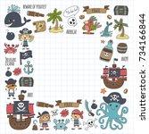 pirates children cartoon... | Shutterstock . vector #734166844