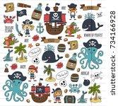 pirates children cartoon... | Shutterstock . vector #734166928