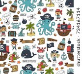 seamless pattern pirate party... | Shutterstock . vector #734167114