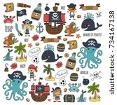 seamless pattern pirate party... | Shutterstock . vector #734167138