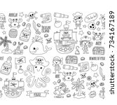 seamless pattern pirate party... | Shutterstock . vector #734167189
