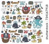 pirates children cartoon... | Shutterstock . vector #734167918