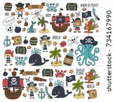 pirates children cartoon... | Shutterstock . vector #734167990