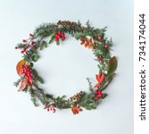 christmas round frame made of... | Shutterstock . vector #734174044