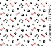 cute cartoon seamless pattern... | Shutterstock .eps vector #734179840