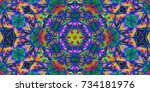 psychedelic background.... | Shutterstock . vector #734181976