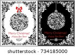 decorative black and white... | Shutterstock .eps vector #734185000