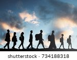 Silhouette Of Refugees People...