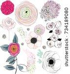 flower rose pink decor... | Shutterstock .eps vector #734189080
