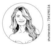 portrait of girl in style pop... | Shutterstock . vector #734198116