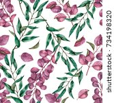watercolor seamless floral... | Shutterstock . vector #734198320