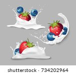 strawberries and blueberries in ... | Shutterstock .eps vector #734202964